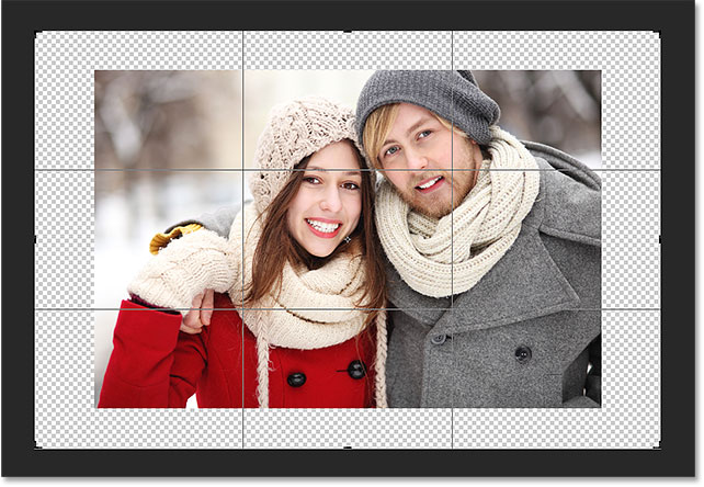 The extra space has been added, yet the aspect ratio remains the same. Image © 2016 Photoshop Essentials.com