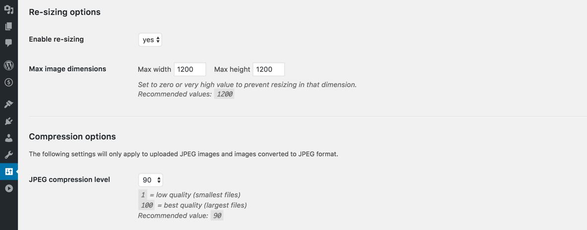 Конфигурация плагина Resize Image After Upload