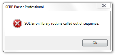 SQL Error: library routine called out of sequence