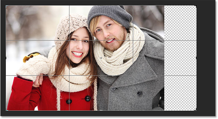 Photoshop adds extra, blank space on the right side of the photo. Image © 2016 Photoshop Essentials.com