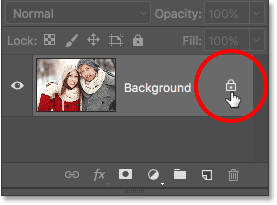 Clicking the Background layer's lock icon. Image © 2016 Photoshop Essentials.com